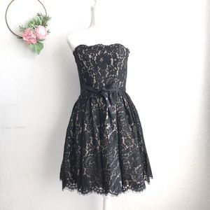 Robert Rodriguez Black Strapless Lace Dress
